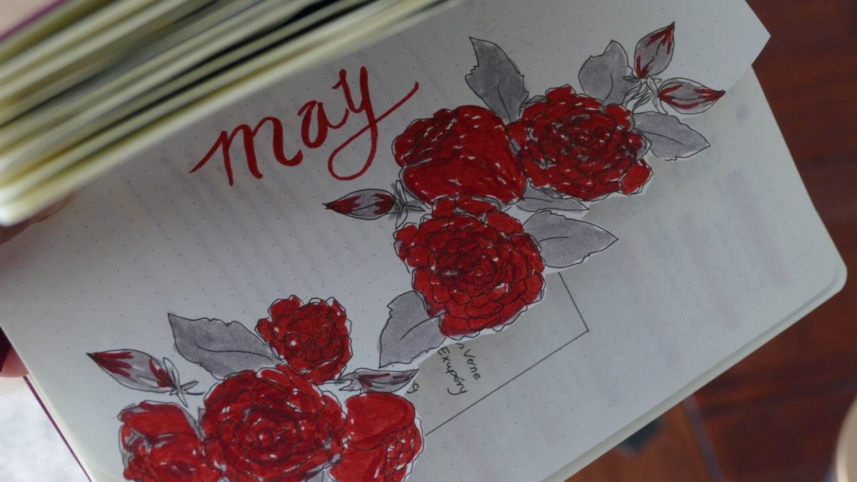 Einen Monatsplan kann man im Bullet Journal mit einer schönen Titelseite beginnen.
