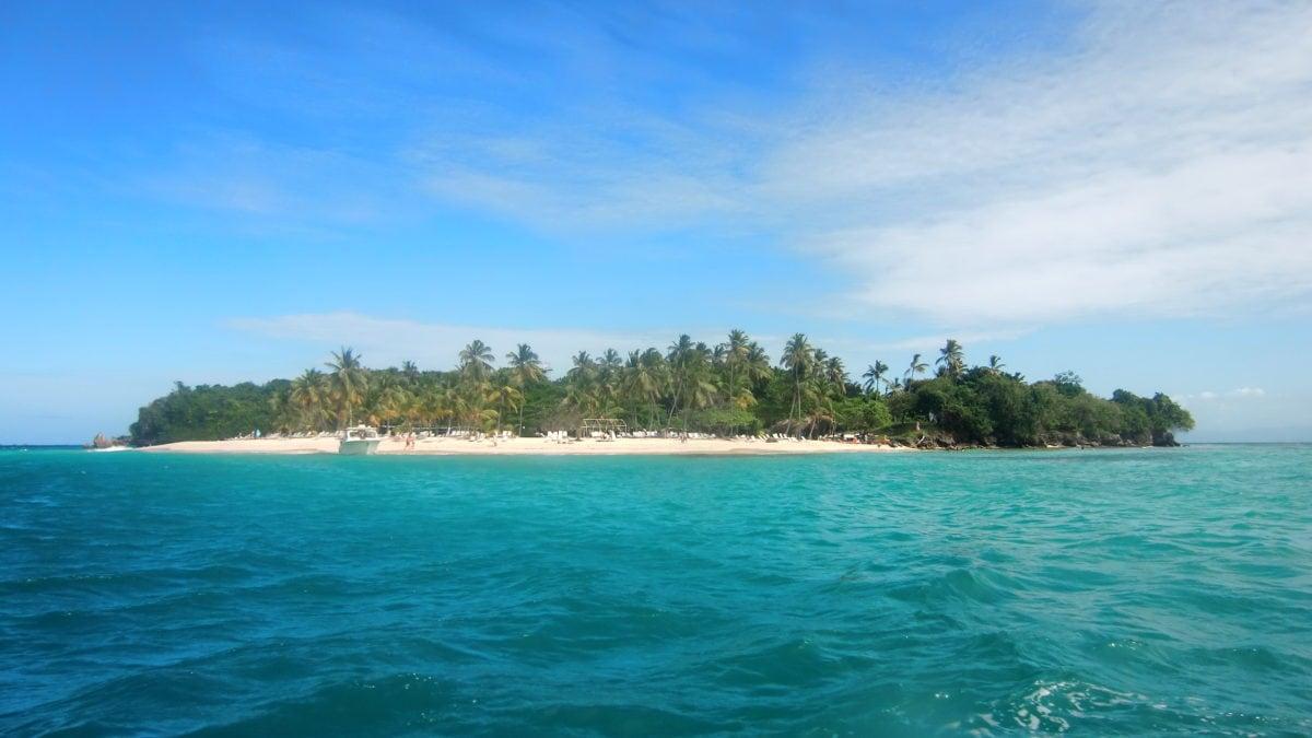 Insel cayo levantado oder Bacardi Island vor Samana in der Dominikanischen Republik mit weißen Strand und Kokospalmen