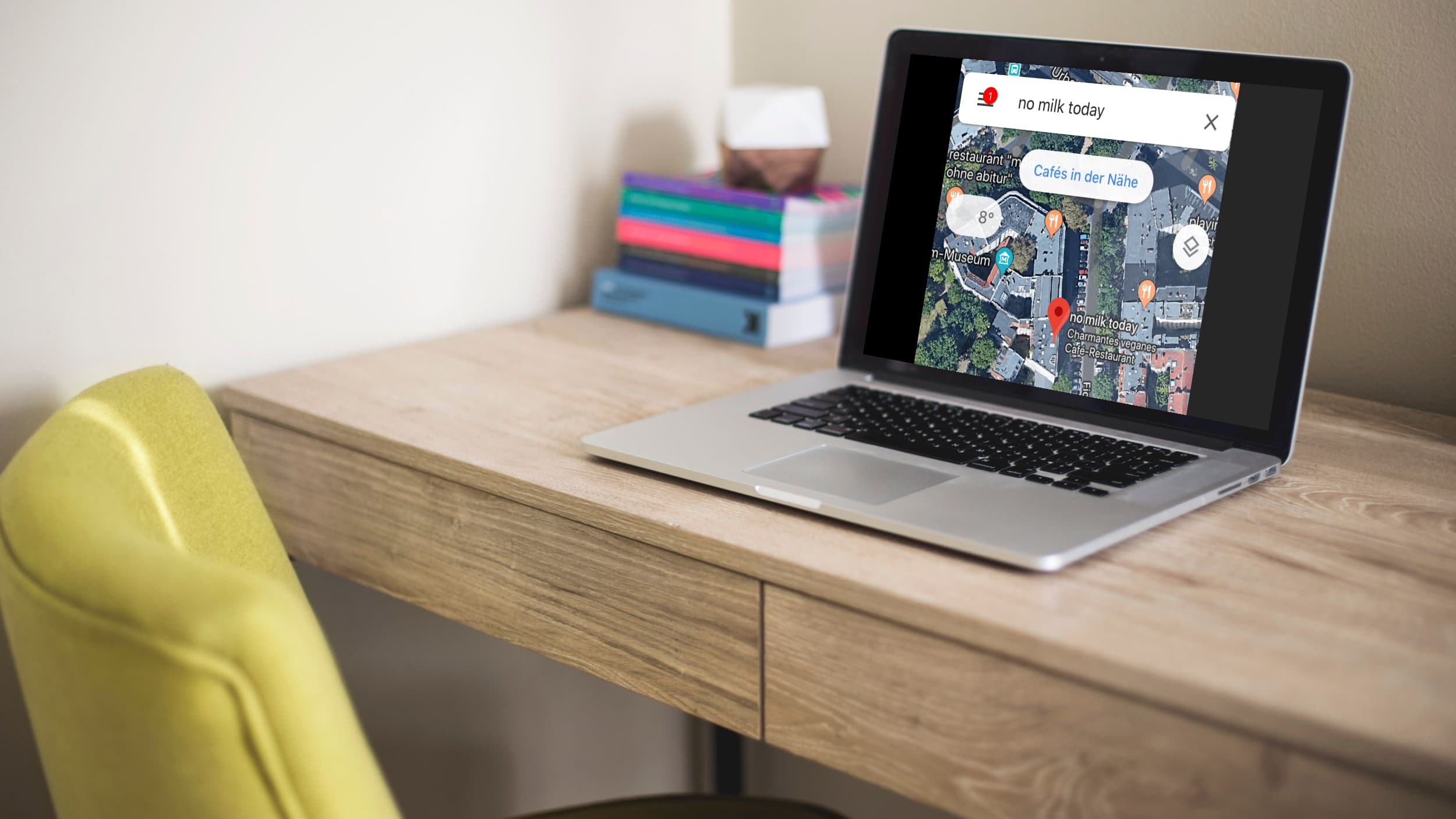Reiseplanung mit Google Maps, Beispiel für ein Berliner Café