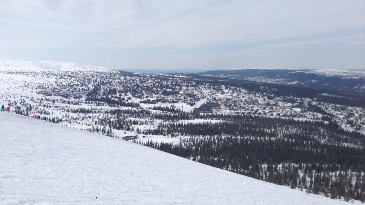 Skifahren mit Panoramablick auf schneebedecktes Trysil