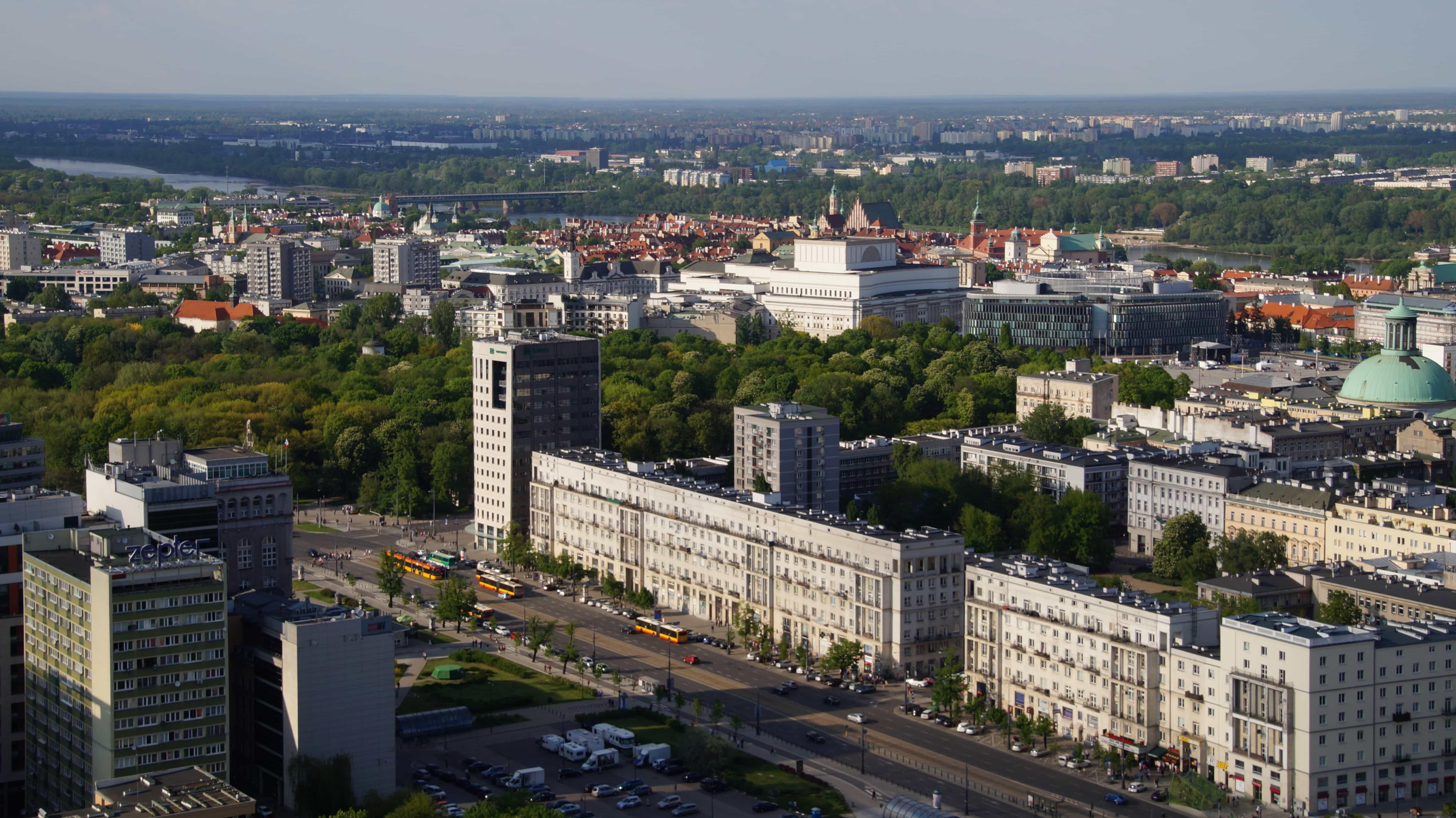 Blick von oben auf Warschau in Polen