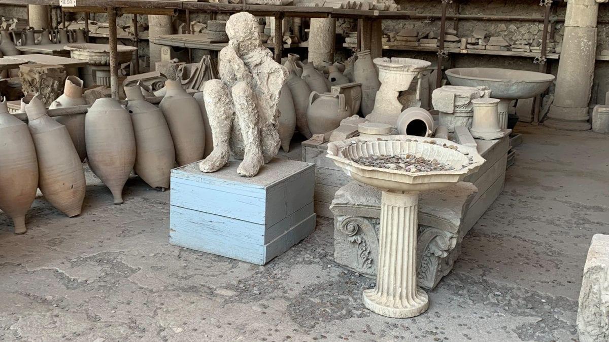 Gipsabdruck einer Toten in Pompeji