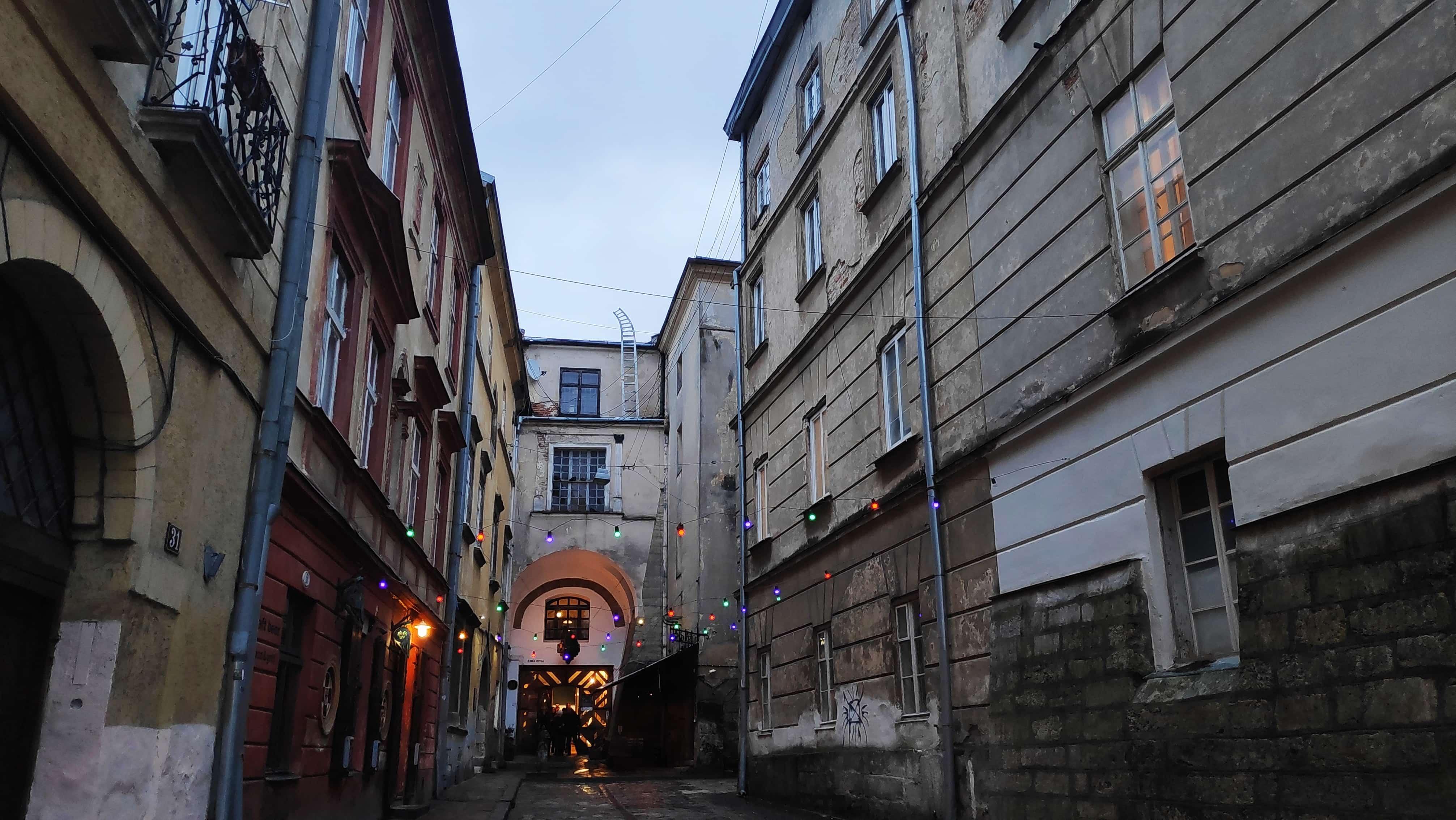 Weihnachtsbeleuchtung in Lviv in der Ukraine